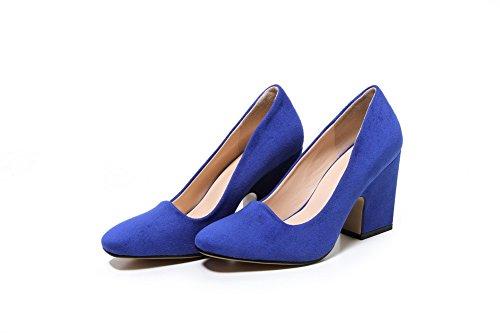 AllhqFashion Damen Nubukleder Rein Ziehen auf Quadratisch Zehe Hoher Absatz Pumps Schuhe Knallblau