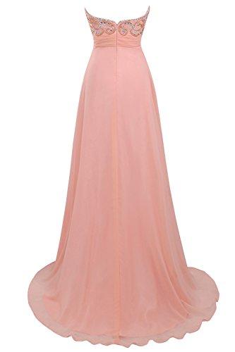 Bbonlinedress Vestido de Fiesta Largo Escote Corazón De Gasa Naranja