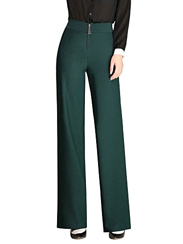 Gooket Women's High Waist Boot-Cut Pants Wide Leg Suit Pants Deep Green Tag 28-US 4