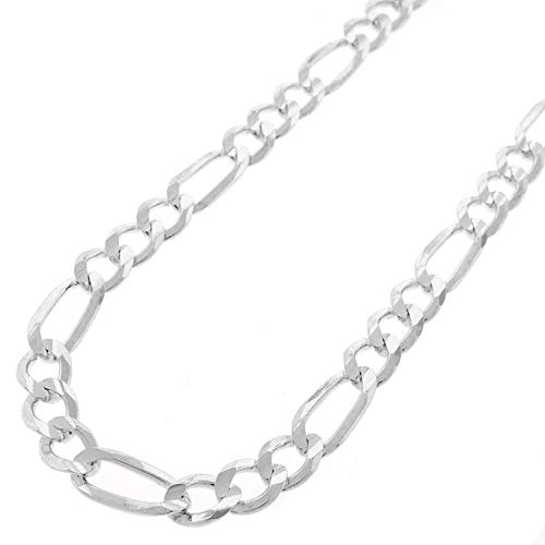 Chain Mens Sterling Figaro Silver (Patented ITProLux - 6mm Figaro Link - 925 Sterling Silver - Solid Necklace Chain - Made In Italy - 18