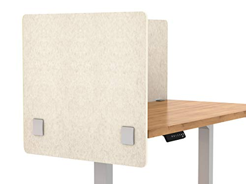 "VaRoom Acoustic Partition, Sound Absorbing Desk Divider - 24"" W x 24""H Privacy Desk Mounted Cubicle Panel, Linen"