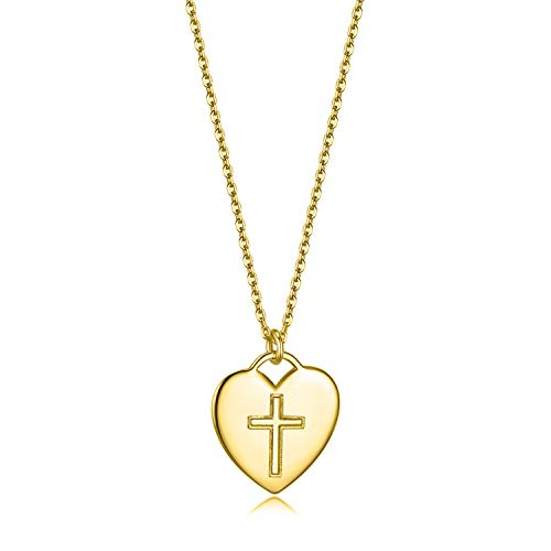 Essie Odila 18K White Gold Plated Sterling Silver Heart Pendant Necklace 18