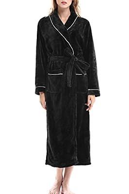 Women's Long Sleeved Flannel Robe Unisex Spa Bathrobes by Nara Twips
