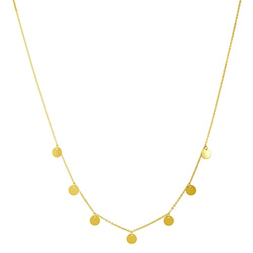 14k Yellow Gold Dangling Mini Disc 7-Station Necklace, 18""