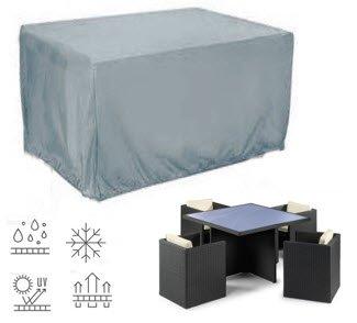HB Collection Schutzhülle für Gartenmöbel, 4 quadratische Sitze, 117 cm, Höhe 72 cm, Polyester, grau