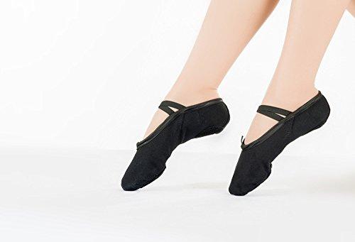 Hoverwings Demi-pointes en toile - chaussures de ballet fille/femmes-bi-semelle en cuir-doux Chaussons de Danse pour Gym Yoga Danse (24, Rose) 5307