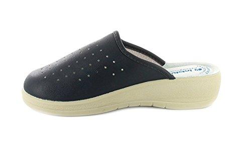NEU Damen / Damen komplette Zehen Schritt Maultier Keilabsatz Sandalen blau - UK Größen 2-8