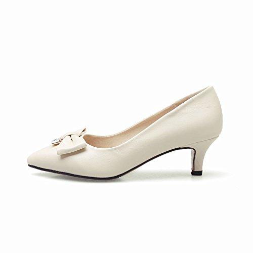 Charme Pied Femmes Orteil Pointu Quotidien Arcs Bas Talon Pompes Chaussures Abricot