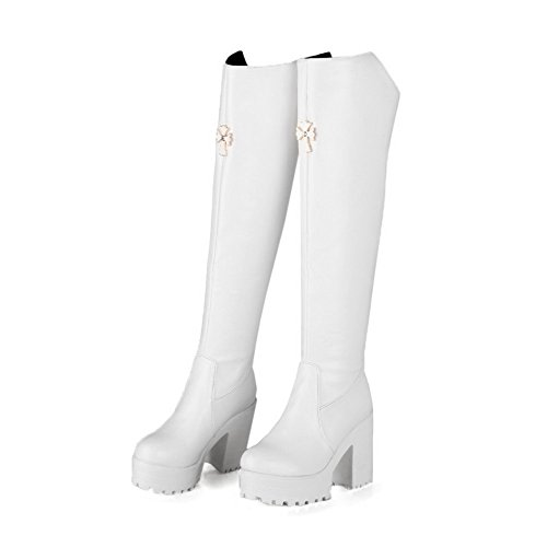 AllhqFashion Damen Hoch-Spitze Rein Reißverschluss Hoher Absatz Stiefel mit Metallisch Weiß
