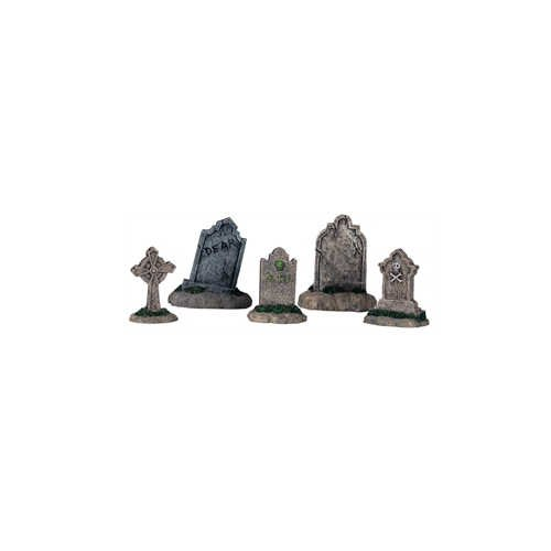 Lemax Halloween Spooky Town Set of 5 Tombstones  (Halloween Village Sets)