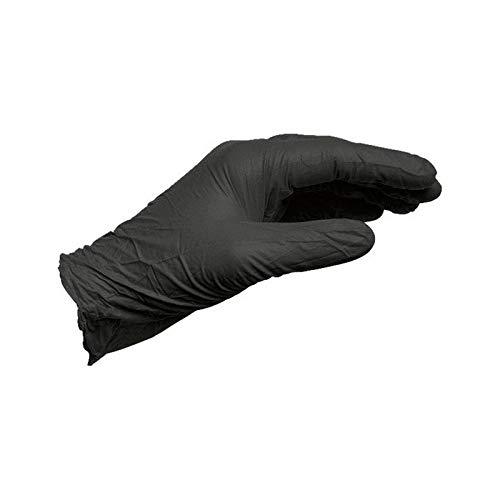 Box of 100 x MEDIUM Black Nitrile Disposable Gloves Powder Free
