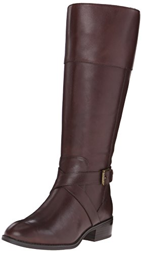 Lauren Ralph Lauren Women's Maryann Wide Calf Riding Boot, Dark Brown, 7.5 B US