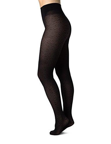 SWE-S. Swedish Stockings Emma Leopard Black Tights 60 Den Luxury Patterned Pantyhose for ()