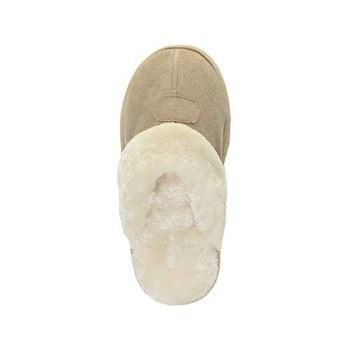Chaude Plat Fourrure Pointure Confortable Beige Luxe Hiver Femmes Ajvani Pantoufles De Doublée Chaussons xwn60p8Hq