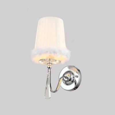 QIANG Soft Nap Brimmed White Fabric Shade and Faceted Crystal Drop Add Charm to Elegant Delightful Single Light Wall Sconce (White Crystal Faceted)