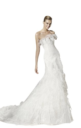 Biggoldapple Sheath/Column Strapless Court Train Tulle/Satin Wedding dress with Beading/Feather 6 Ivory