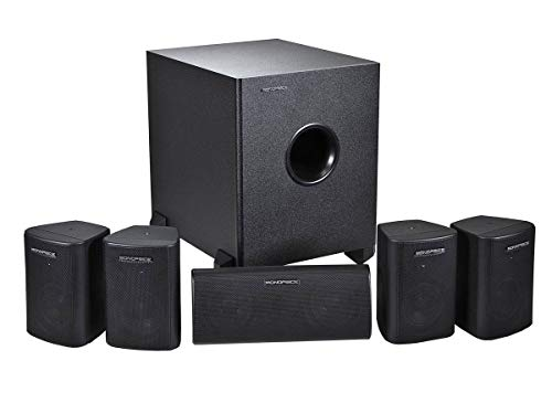 Monoprice 5.1 Channel Home Theater Satellite Speakers And Subwoofer - Black (Wireless Surround Theater Sound)