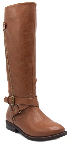 Sugar Womens Iris Riding Boot Wraparounds Buckles Zip Closure 9 Brown (Around Wrap Buckle)