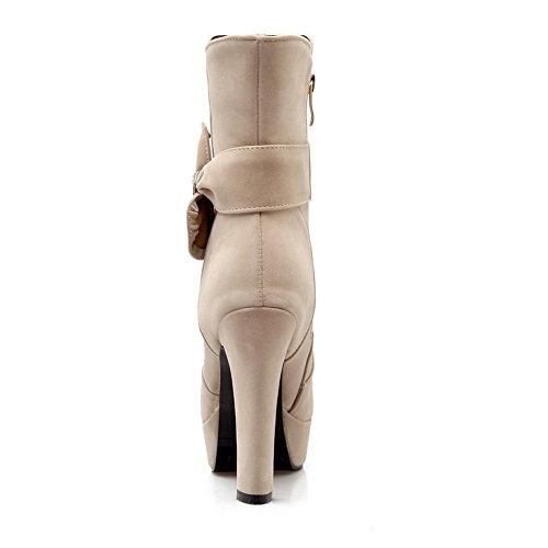 Plattform goldener Mattstiefel Womens Heels Chunky Bowknot gesponnener Reißverschluss Beige 1TO9 I710pI