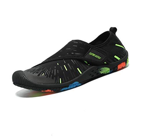 OctiveMe Water Shoes Quick-Dry Lightweight Barefoot Aqua Socks Beach Swim Outdoor Sports Shoes for Men Women (8 M US Women/ 6.5 M US Men, Velcro Tape Green) ()