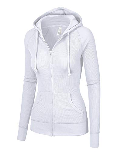 ViiViiKay Womens Casual Warm Thermal Knitted Solid Zip-up Hoodie Thin Jacket (Large, White)