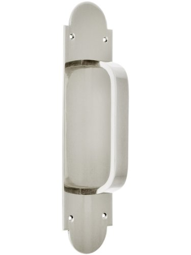 Solid Brass Modern Door Pull With Arched Back Plate In Polished Nickel ()