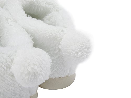 MiYang Warm Indoor Slippers For Women Fleece Plush Bedroom House Shoes Non Slip Winter Boots White(High Top) BhEYeOewW