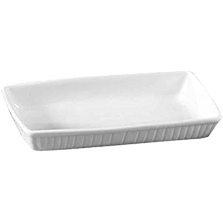 CAC China TSP 7 Clinton Super White Porcelain Rectangular Serving Platter 15 1 2 By 7 3 4 By 2 3 8 Inch 12 Pack