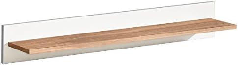 Hängeregal / Wandregal Panduros 16, Farbe: Kiefer Weiß / Eiche Braun - Abmessungen: 14 x 85 x 18 cm (H x B x T)
