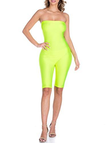 BEYONDFAB Women's Biker Short Pant Tube Jumpsuit One Piece Short Catsuit Neon Yellow L