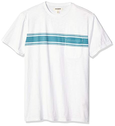Goodthreads Men's Slub Placed-Stripe Crewneck T-Shirt, Teal, X-Large