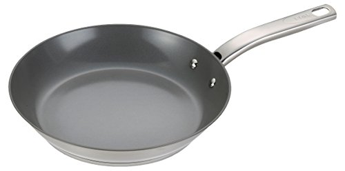 Oven Safe Steel Fry Pan (T-fal C71805 Precision Stainless Steel Nonstick Ceramic Coating PTFE PFOA and Cadmium Free Scratch Resistant Dishwasher Safe Oven Safe Fry Pan Cookware, 10.5-Inch, Silver)
