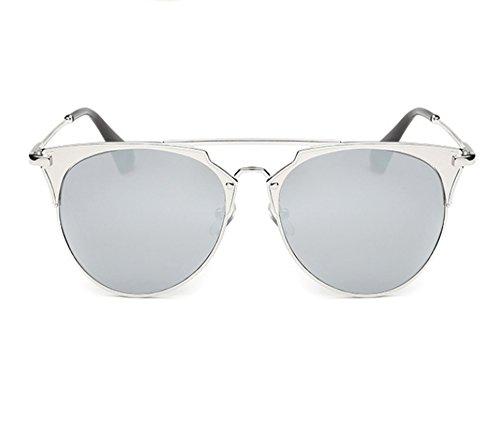 de la de moda Gafas redondas de de Silver redondo sol retra polarizada marco del Gafas protección no UV la moda U6Oqxa
