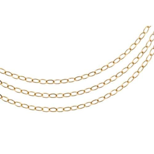 Chains, Flat Oval Cable Chain, 14Kt Gold Filled, 3x2.3mm - 5ft Strong Bright Cable Chain (2462-5)/1