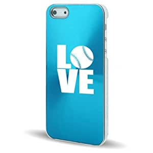 Apple iPhone 5 5s Light Blue 5C448 Aluminum Plated Hard Back Case Cover Love Baseball Softball