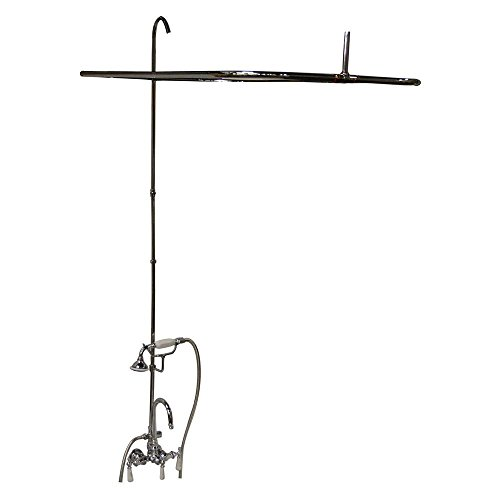 (Barclay 4143-48-BN Universal Code Rectangular Shower Unit with Handshower for Cast Iron Tubs)