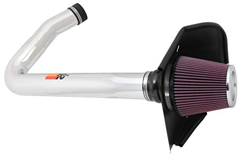 K&N Cold Air Intake Kit with Washable Air Filter:  2011-2019 Dodge/Chrysler (Challenger, Charger, 300, 300C) 3.6L V6, Polished Metal Finish with Red Oiled Filter, 69-2544TP
