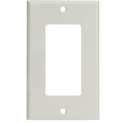 Decora Wall Plate, White, 1 Hole, Single Gang - Gray Plastic Graphite Frame