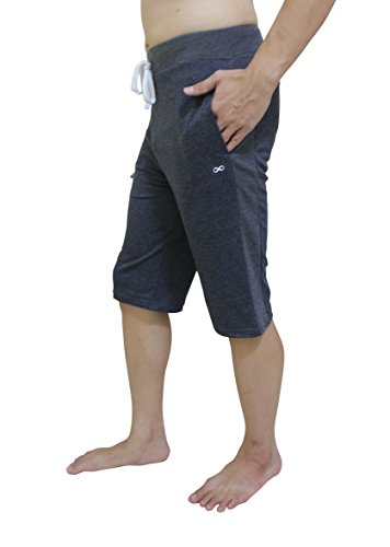 YogaAddict Men Yoga Short Pant, Ideal for Any Yoga Style and Pilates, Premium Quality, Dark Grey – Size M For Sale