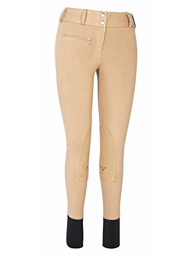 - TuffRider Women's Cotton Lowrise Wide Waistband Breeches (Long), Taupe, 34