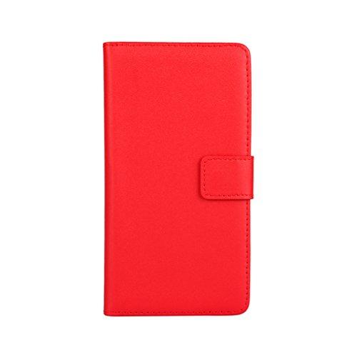 Trumpshop Smartphone Carcasa Funda Protección para Huawei P8 Lite (2017) + Verde + Ultra Delgada Cuero Genuino Caja Protector con Función de Soporte Ranuras para Tarjetas Crédito Choque Absorción Rojo