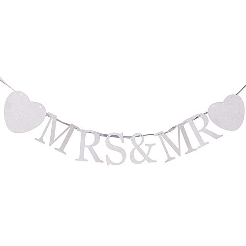MR & MRS Banner for Bridal Shower,Engaged,Wedding Anniversary Party Decorations(Silver Glitter) ()