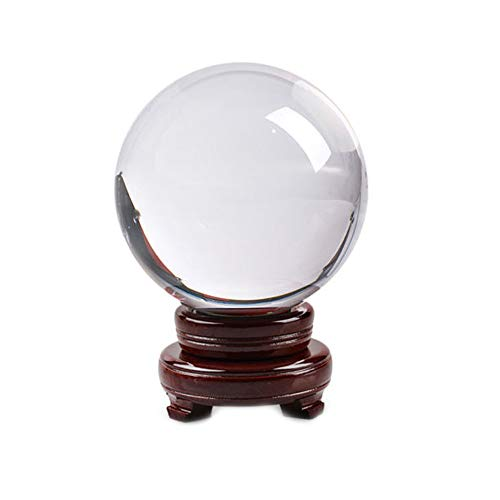 (Yezijin Clear Glass Crystal Ball Healing Sphere Photography Props Lensball Decor Gift (A:)