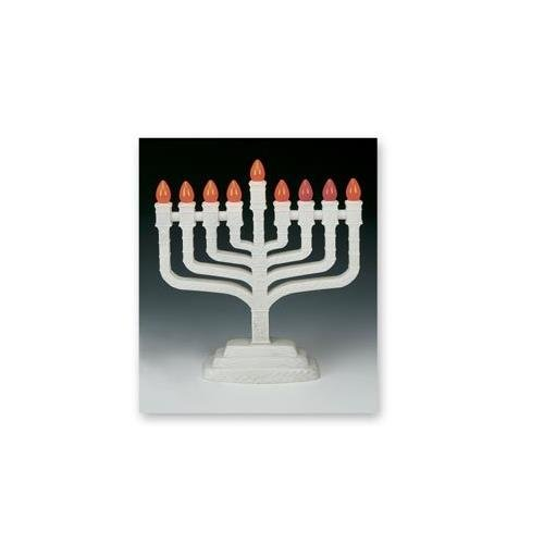 The KNESSET White Electric Menorah Aviv Judaica PRL-850