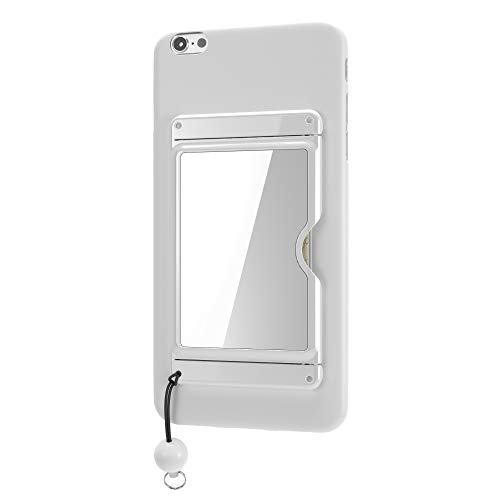 Credit Card Locking Holder for Phone - Includes RF Identity Theft Protection, Video Stand, Mirror, Grip Cord - White X-Slim