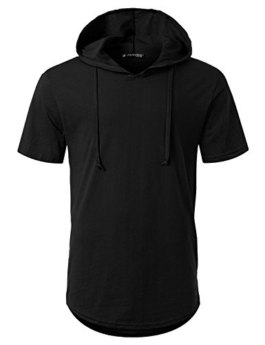 URBANCREWS Mens Hipster Hip Hop Short Sleeve Pullover Hoodie Shirt Black, - Hoody Short Pullover Sleeve