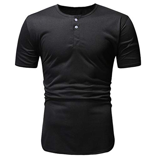 Willow S Fashion Athletic Regular Fitness T-Shirts Crewneck Solid Sports Gym Botton Down Short Sleeve Top Blouse Black ()