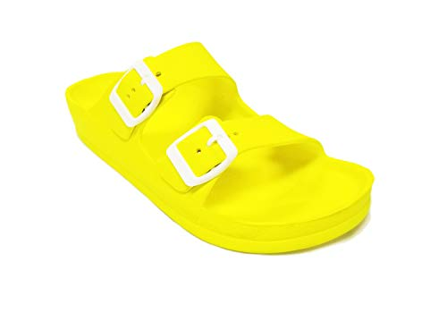 H2K Womens Comfort Slides Adjustable Double Buckle EVA Flat Slide Sandals (Neon Yellow, 9)