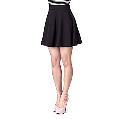 Basic Solid Stretchy Cotton High Waist A-line Flared Skater Mini Skirt at Women's Clothing store