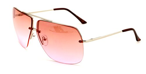 Vision World Eyewear - Limited edition colorful lens rimless metal aviator sunglasses - Rose Gradient Lens Silver